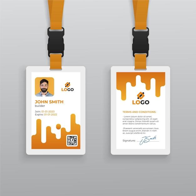 Modello astratto di carta d'identità con foto Vettore Premium