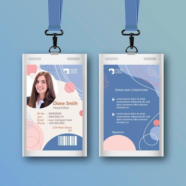 Modello astratto di carte d'identità con foto Vettore Premium