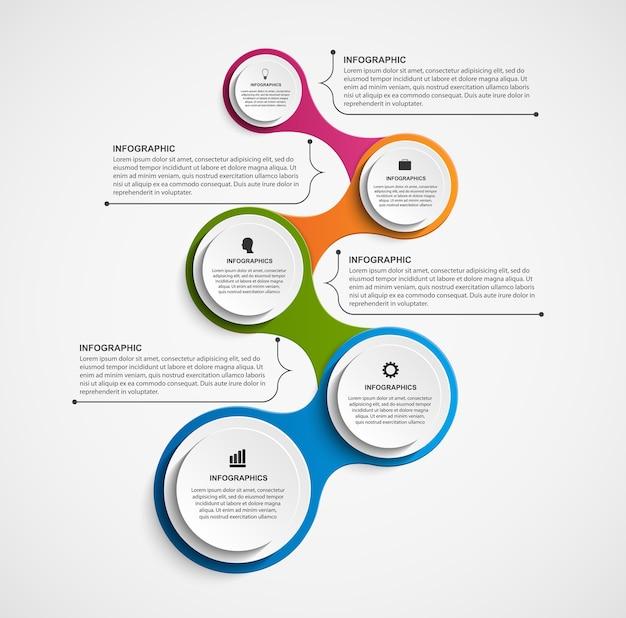 Elementi astratti di design di infographi. Vettore Premium