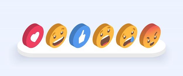 Insieme astratto isometrico di emoticon Vettore Premium