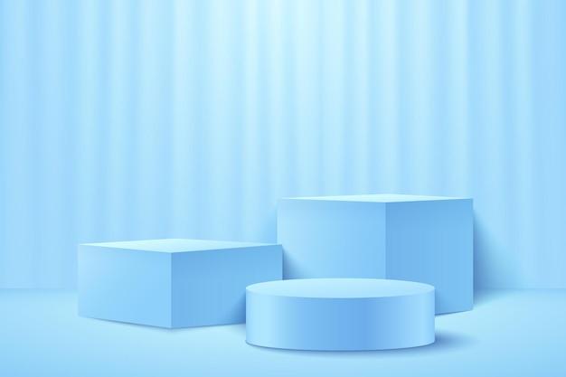Cubo azzurro astratto e display rotondo per prodotto. colore pastello di forma geometrica del rendering 3d. Vettore Premium