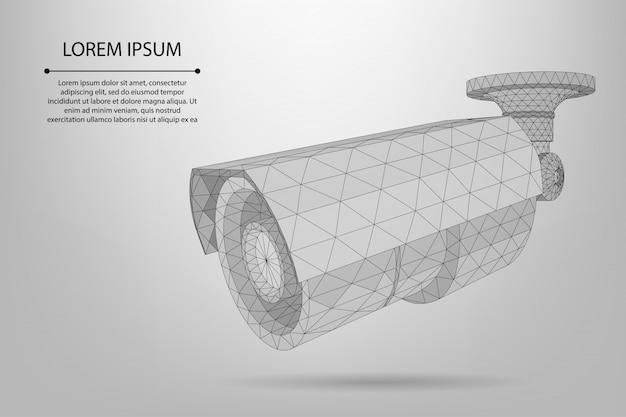 Modello di videocamera poli poli basso astratto linea e punto strada Vettore Premium