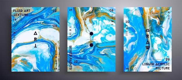 Copertura liquida astratta, collezione di texture arte fluida. Vettore Premium