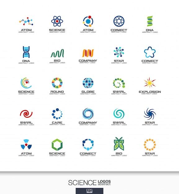 Logo astratto impostato per azienda commerciale. elementi di identità aziendale. concetti di scienza, educazione, fisica e chimica. raccolta di dna, atomo, molecola, bio logotipo. icone colorate Vettore Premium