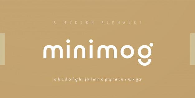 Caratteri di alfabeto moderno minimal astratto. carattere creativo tipografico minimalista urbano digitale moda futuro logo creativo Vettore Premium