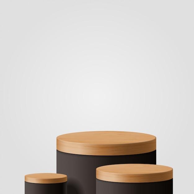 Scena minima astratta con forme geometriche. cilindro in legno e podio nero. presentazione del prodotto. podio, piedistallo o piattaforma. 3d Vettore Premium