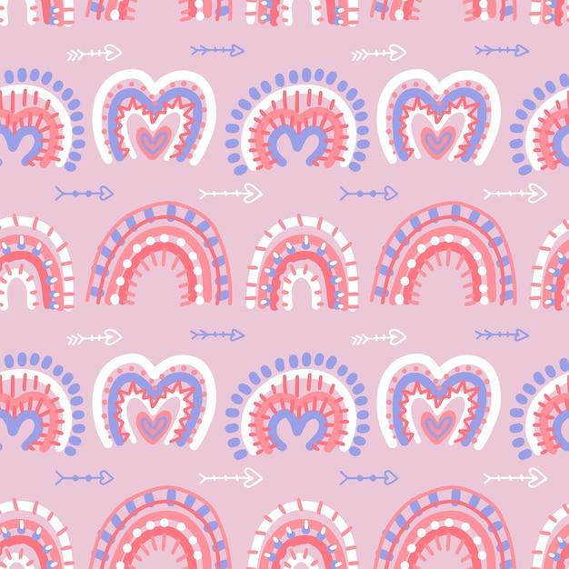 Il modello senza cuciture astratto moderno degli arcobaleni di boho con i biglietti di s. valentino ama le forme dell'hrat Vettore Premium