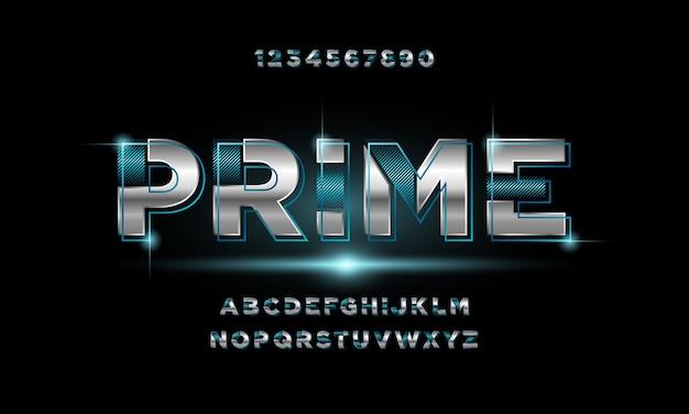 Fonte di alfabeto futuristico moderno astratto. caratteri tipografici in stile urbano per tecnologia, digitale Vettore Premium