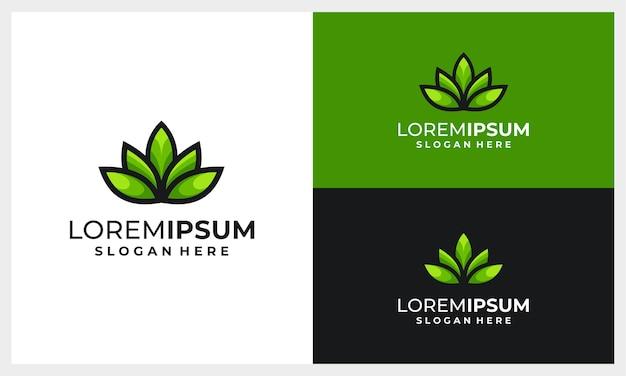 Modello di progettazione logo astratto e moderno foglia o foglie Vettore Premium