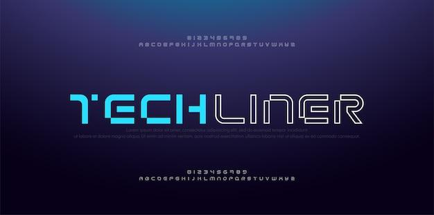 Alfabeto di carattere astratto moderno sottile linea. numeri e caratteri digitali al neon di tecnologia. Vettore Premium