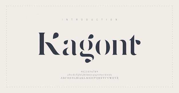 Fonte tipografica di alfabeto urbano moderno astratto Vettore Premium