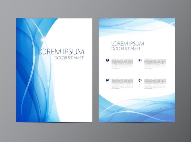 Volantino blu fluente ondulato moderno astratto, brochure Vettore Premium