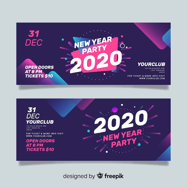 Bandiere astratte del partito di nuovo anno 2020 Vettore Premium