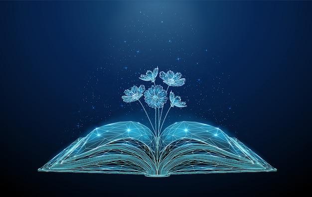 Libro aperto astratto con i fiori di fioritura crescenti. Vettore Premium