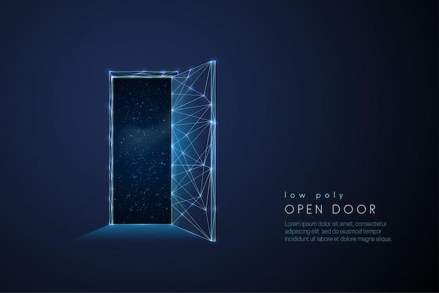 Porta aperta astratta all'universo Vettore Premium