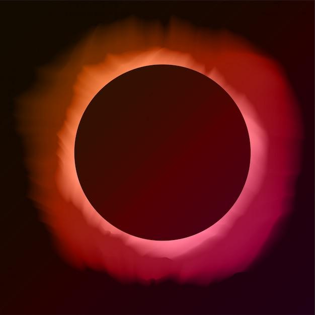 Fondo rosa ed arancio astratto con lo spazio della copia. eclissi di sole nel cielo notturno. illustrazione per poster, pubblicità, banner, biglietto di auguri. forma rotonda nera con bagliore. Vettore Premium