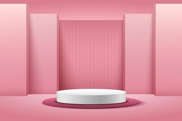 Esposizione rotonda rosa e bianca astratta per prodotto. colore pastello di forma geometrica del rendering 3d. Vettore Premium