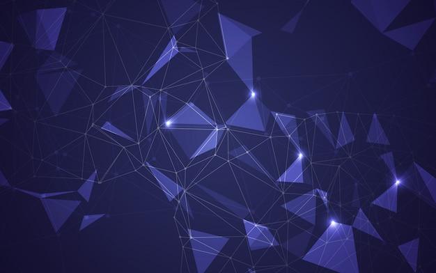 Spazio poligonale astratto basso poli sfondo scuro con punti e linee di collegamento. collegamento struttura.illustratore Vettore Premium