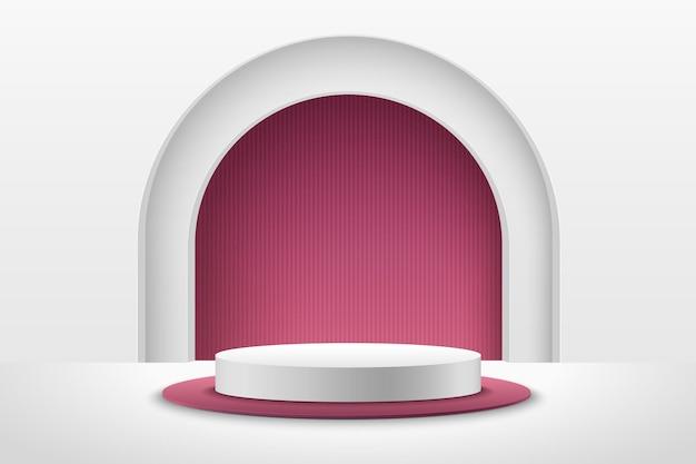 Esposizione rotonda rossa e bianca astratta per prodotto. forma geometrica di rendering 3d di lusso. Vettore Premium