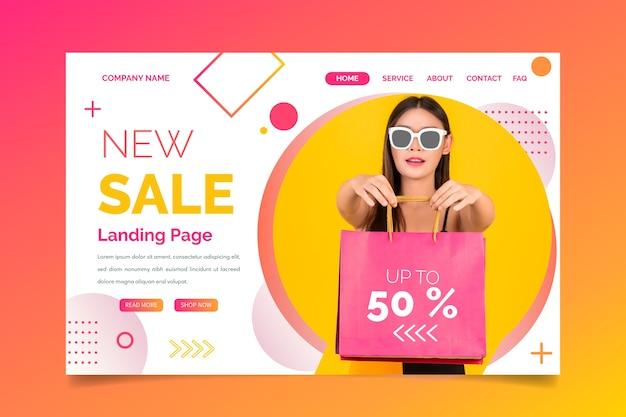 Pagina di atterraggio astratta di vendite con la foto Vettore Premium