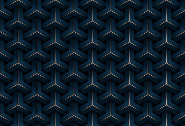 Fondo senza cuciture astratto del modello del blu scuro e dell'oro di lusso del modello geometrico Vettore Premium