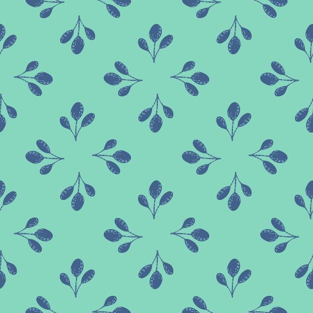 Modello senza cuciture astratto con ornamento foglia blu. sfondo luminoso turchese. Vettore Premium