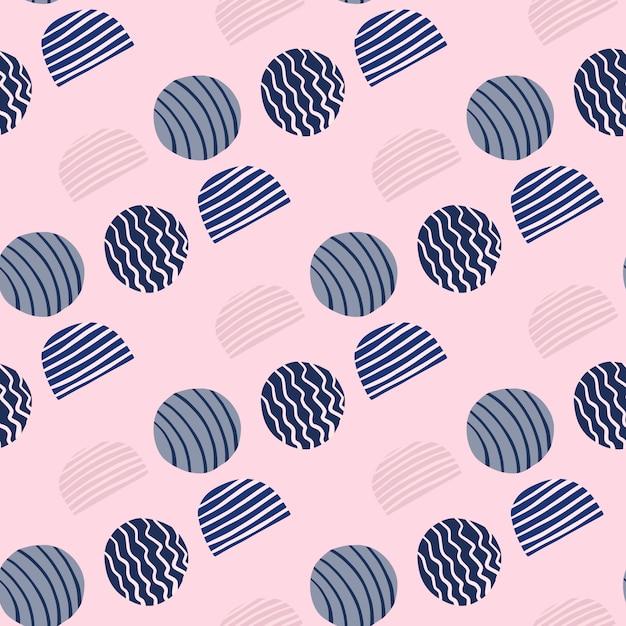 Modello senza cuciture astratto con cerchi di doodle. elementi spogliati blu navy su sfondo chiaro morbido. Vettore Premium