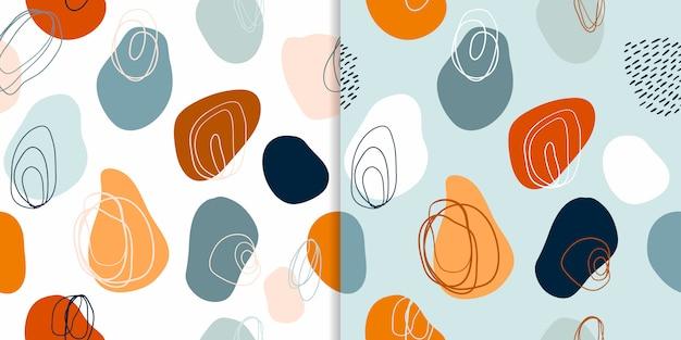 I modelli senza cuciture astratti hanno messo con le forme disegnate a mano decorative, progettazione moderna Vettore Premium