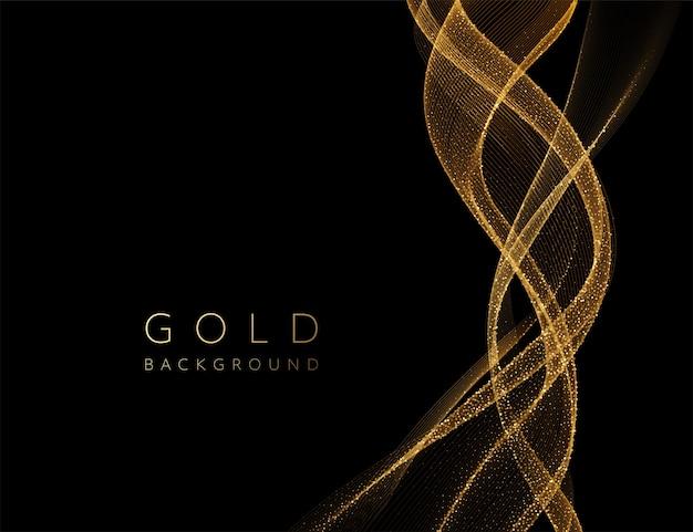 Elemento ondulato dorato lucido astratto con effetto glitter. Vettore Premium
