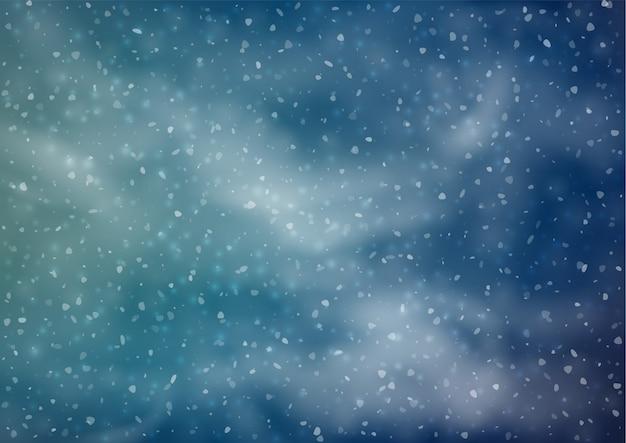 Fondo nevoso astratto di inverno con nevicate Vettore Premium