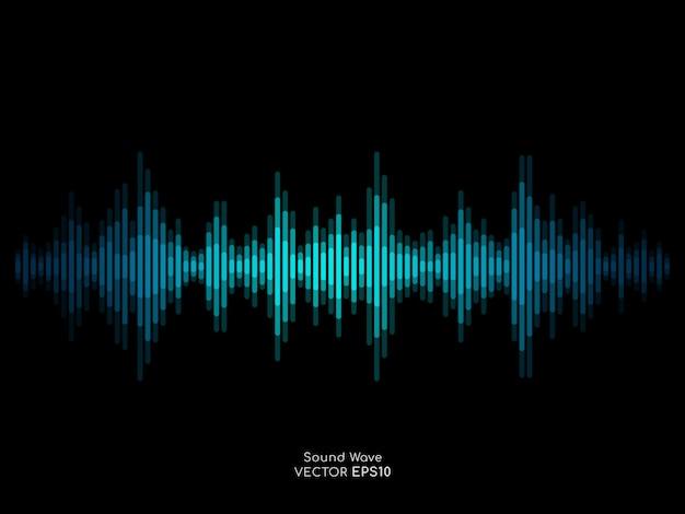 La banda astratta dell'onda sonora allinea l'equalizzatore verde blu isolato su fondo nero. Vettore Premium