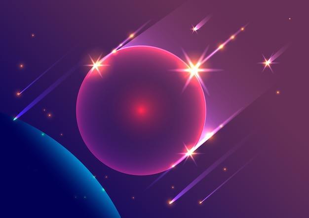 Meteoriti e pianeta di caduta del fondo astratto dello spazio. Vettore Premium