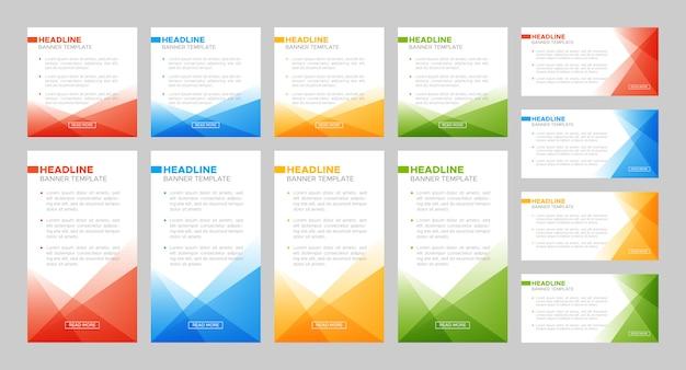 Insieme di modelli di banner colorato verticale e orizzontale quadrato astratto Vettore Premium