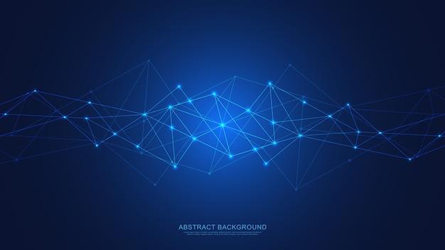 Fondo astratto di tecnologia con punti e linee di collegamento. tecnologia digitale di connessione e comunicazione di rete globale. Vettore Premium