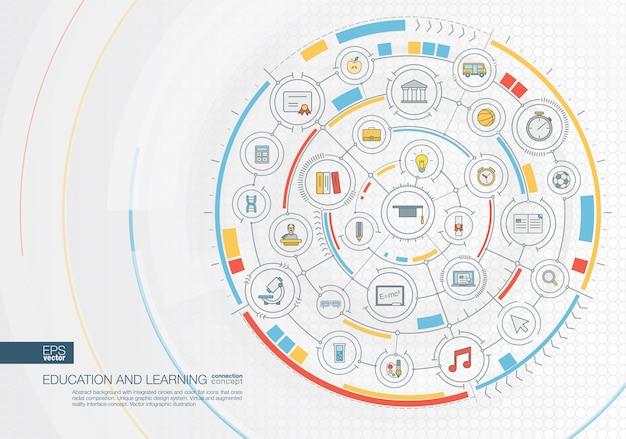 Sfondo astratto viaggio. sistema di connessione digitale con cerchi integrati, icone a colori. interfaccia grafica radiale. concetto futuro. illustrazione infografica Vettore Premium