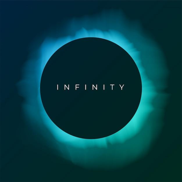 Astratto sfondo turchese con copia spazio. eclissi di sole nel cielo notturno. illustrazione per poster, pubblicità, banner, biglietto di auguri. forma rotonda nera con bagliore. Vettore Premium