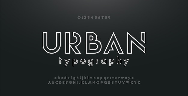 Alfabeto moderno di carattere al neon urbano sottile linea astratta Vettore Premium