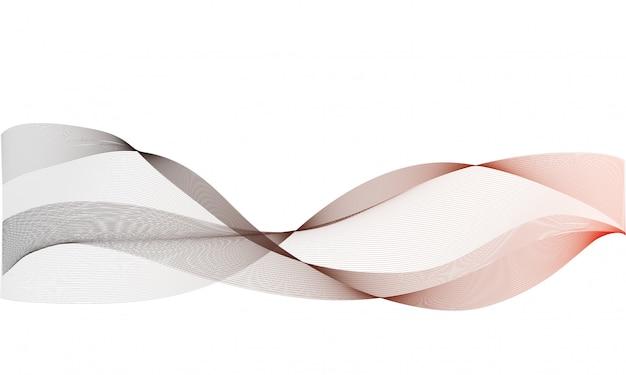 Sfondo vettoriale astratto, colorate linee ondulate trasparenti Vettore Premium