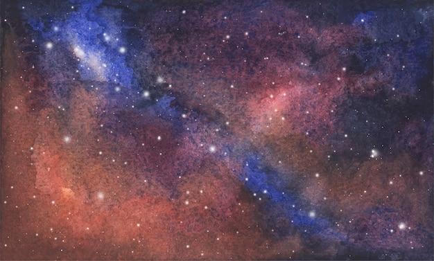 Fondo astratto del cielo della galassia dell'acquerello, struttura cosmica con le stelle. cielo notturno. Vettore Premium