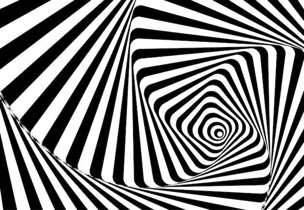 Linee ondulate astratte illusione ottica. disegno di sfondo geometrico. illustrazione Vettore Premium