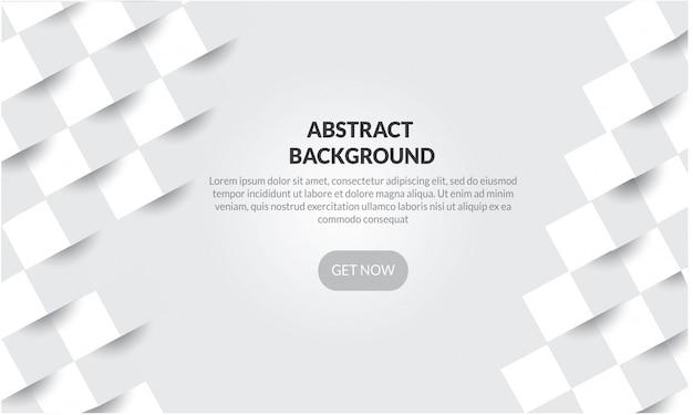 Fondo geometrico bianco astratto di forma con stile della carta 3d Vettore Premium
