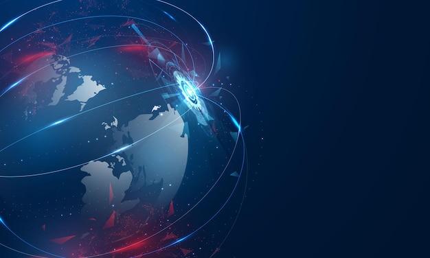 Concetto di comunicazione della tecnologia dei dati del computer del mondo astratto Vettore Premium