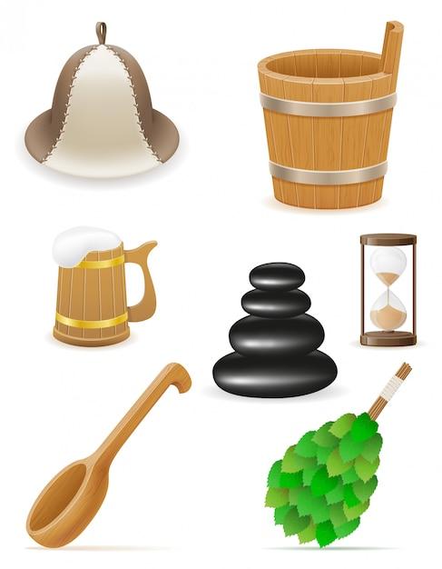 Accessori Per Bagno Turco.Accessori Per Bagno Turco O Sauna Illustrazione Vettoriale Vettore Premium