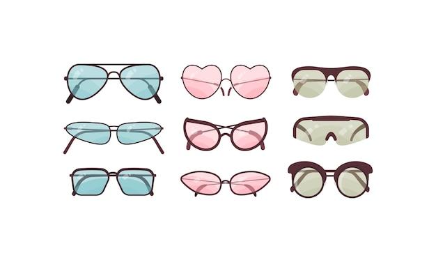 Set di occhiali da sole accessori collezione di occhiali da sole colorati Vettore Premium