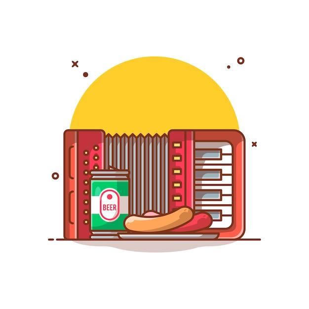 Fisarmonica, lattine di birra, illustrazione di salsiccia Vettore Premium