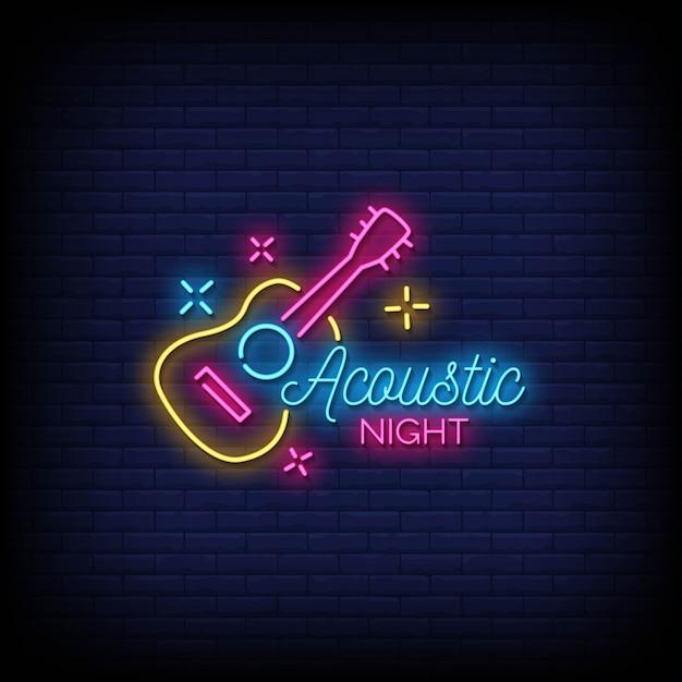Testo di stile delle insegne al neon di notte acustica Vettore Premium