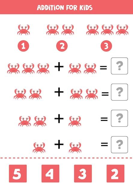Gioco aggiuntivo con granchio rosso simpatico cartone animato. gioco di matematica per bambini. Vettore Premium