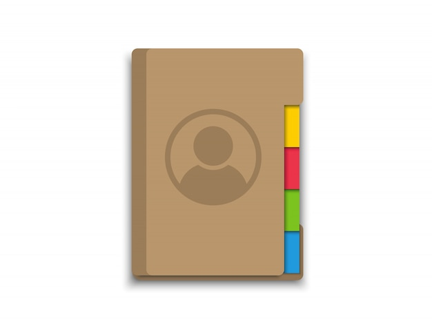 Rubrica. libro dei contatti. icona per l'applicazione sul telefono o sul laptop. Vettore Premium