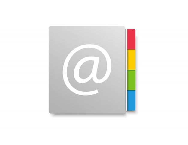Rubrica. libro di posta elettronica. icona per l'applicazione sul telefono o sul laptop. Vettore Premium