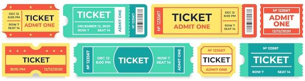 Ammetti un biglietto. buono per ingressi al circo, biglietto per il cinema retrò e buoni per l'ingresso al cinema Vettore Premium